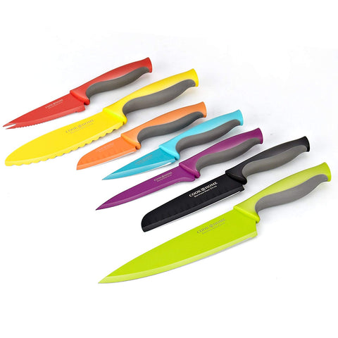 14-Piece Coated Carbon Stainless Steel Knife Set with Sheaths, Multicolor