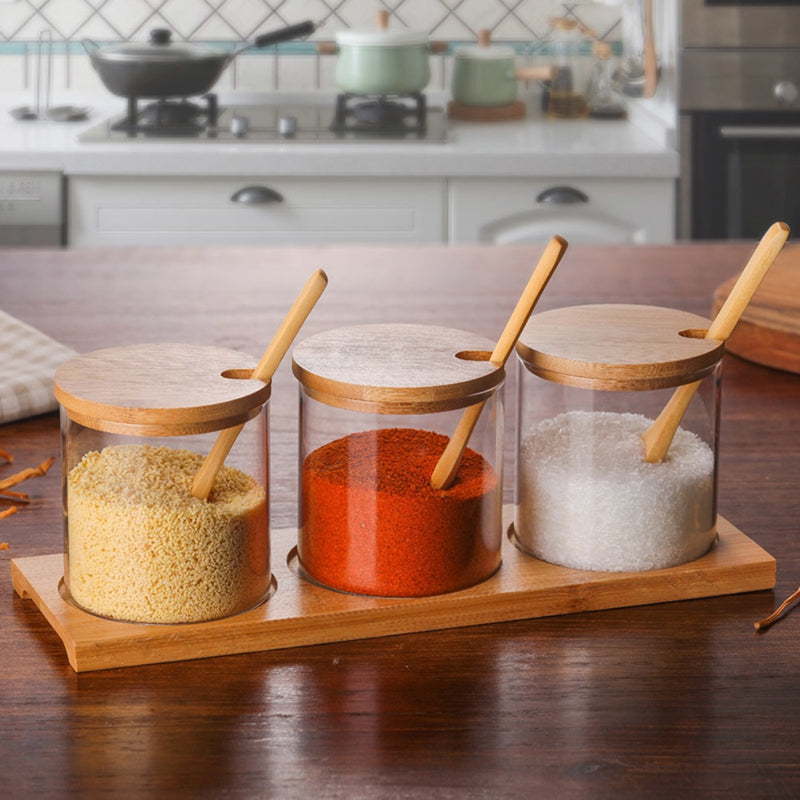 Spice Jars Kitchen Concise Clear Condiment Jars Storage Containers with Wooden Spoon Bamboo Lid