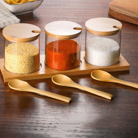 Image of Spice Jars Kitchen Concise Clear Condiment Jars Storage Containers with Wooden Spoon Bamboo Lid