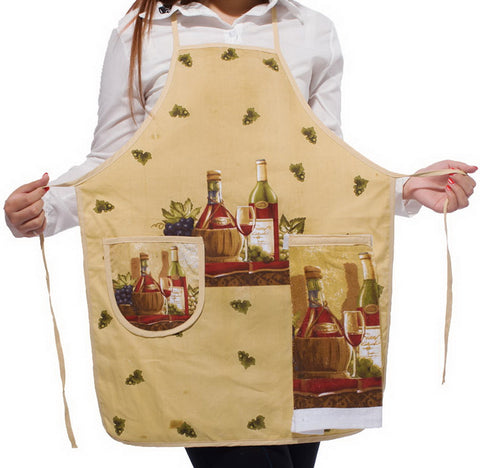 Image of Romantic Wine Kitchen Apron Art Works Bib Aprons With Pocket And Hand Towel