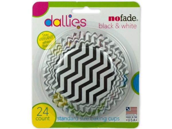 Dallies No Fade Black and White Baking Cup 24 Pack