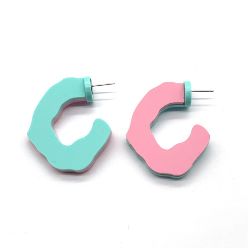 Summer Ready Reversible Hoops Mint and Pink