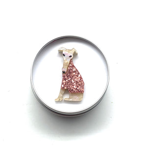 Francine and Frederick our Fawn Greyhound Pup Badge