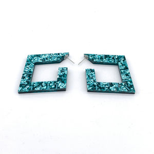 TEAL MIRROR AND TEAL GLITTER Squoops our Square Reversible Hoops