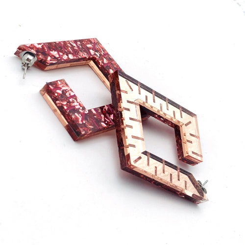 POMEGRANATE GLITTER AND ROSE GOLD MIRROR  Squoops our Square Reversible Hoops