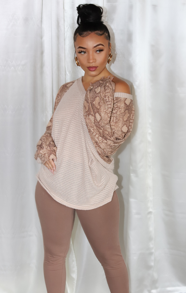 Snake Print Sleeve Sweater Set