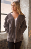 Plush Faux Fur Hooded Jacket (Charcoal Grey)