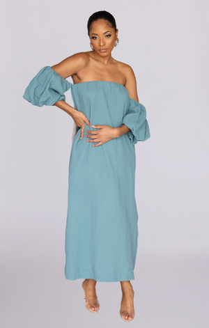 EDEN OFF SHOULDER PUFF SLEEVE MAXI DRESS (TEAL)