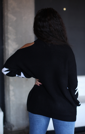 Exposed Shoulder Thunder Bolt Sweater