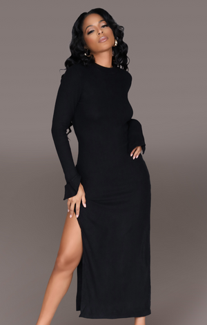 NOIR I CASHMERE DOUBLE SPLIT DRESS BLACK