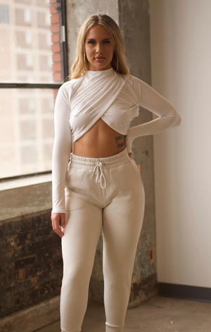 Mock Neck Crop Top (Ivory)
