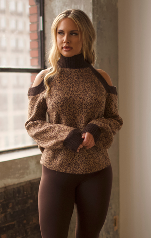 Leopard Brown Cold Shoulder Sweater