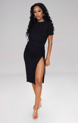 NINA I BLACK SIDE SPLIT TSHIRT DRESS
