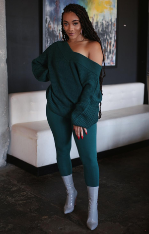 Double V Sweater and Leggings Set (Jade)