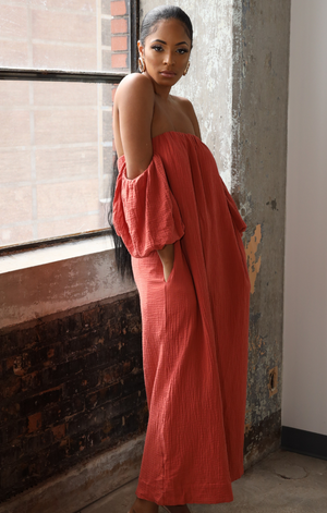 EDEN OFF SHOULDER PUFF SLEEVE MAXI DRESS (CORAL)