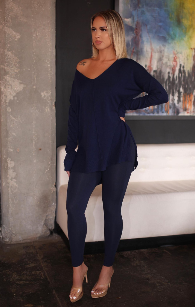 Front Seam Hi Low Sweater Set (Navy)