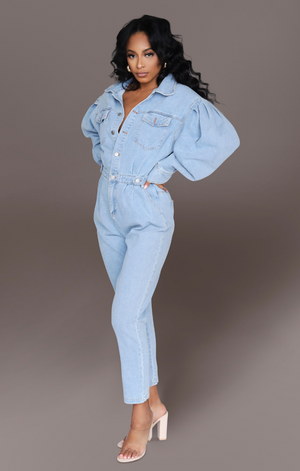 SORAYA I PUFF SLEEVE DENIM JUMPSUIT