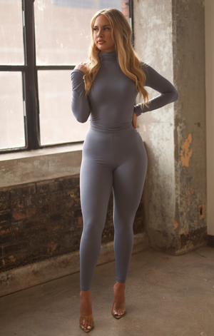 Turtleneck Legging Set- Denim Blue
