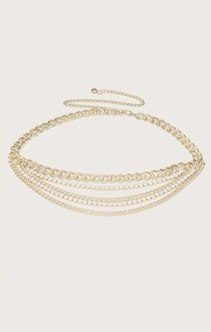 5 Layered Rhinestone Chain Belt