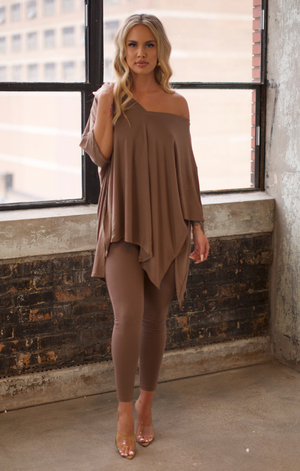 Oversized V Neck Poncho Set