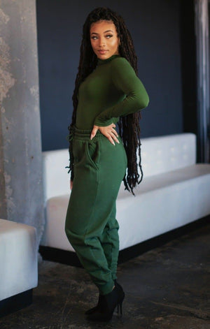Mock Turtleneck Sweatpants Set (Army Green)