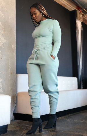 Mock Turtleneck Sweatpants Set (Mint)