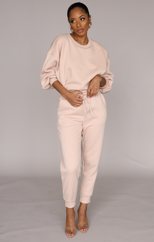 So Chic Sweatpants Set (Pastel Pink)