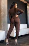 Mock Turtleneck Sweatpants Set (Chocolate Brown)