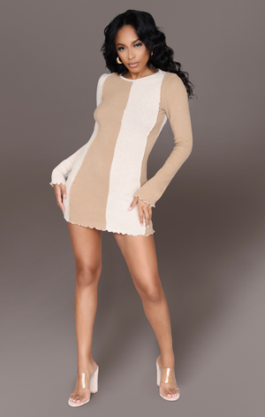 NUDES MATTER I CASHMERE COLOR BLOCK MINI DRESS
