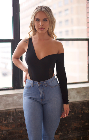 Off Shoulder, Black Mesh Bodysuit Top