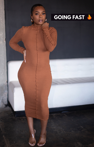 Exposed Seam Midi Dress