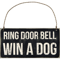 RING BELL WIN DOG SIGN