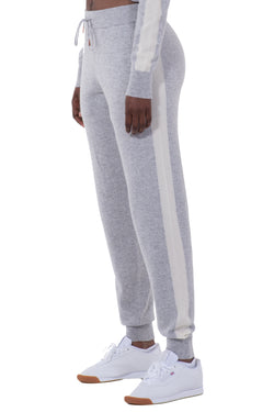 Womens Striped Cashmere Joggers