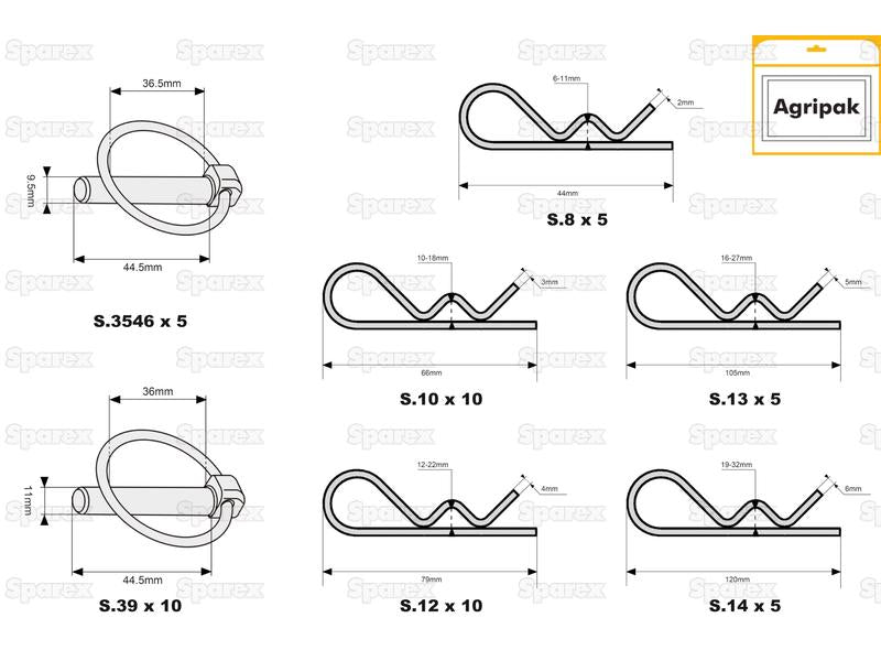 Multipack R Clips & Linch Pins (x50) ( S.13447 )