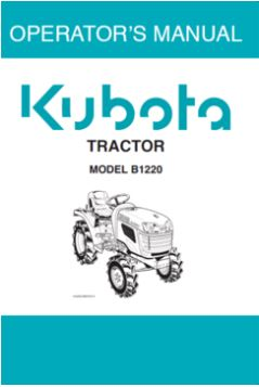 Kubota Operators Manual - B1220 Tractor