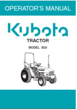 Kubota Operators Manual - B20 Tractor