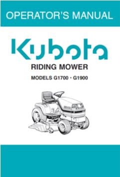 Kubota Operators Manual - G1700, G1900 Ride on Mower
