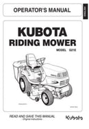 Kubota Operators Manual - G18LD  / G21LD Ride on Mower