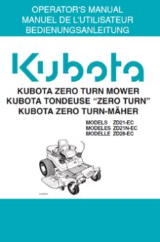 Kubota Operators Manual - ZD21-EC, ZD21N-EC, ZD28-EC Ride on Mower