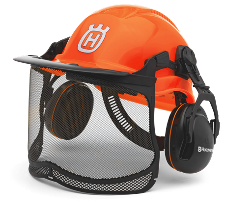 Chainsaw helmet with 6 point textile harness.  Includes the ULTRAVISION visor and ergonomic hearing protectors.