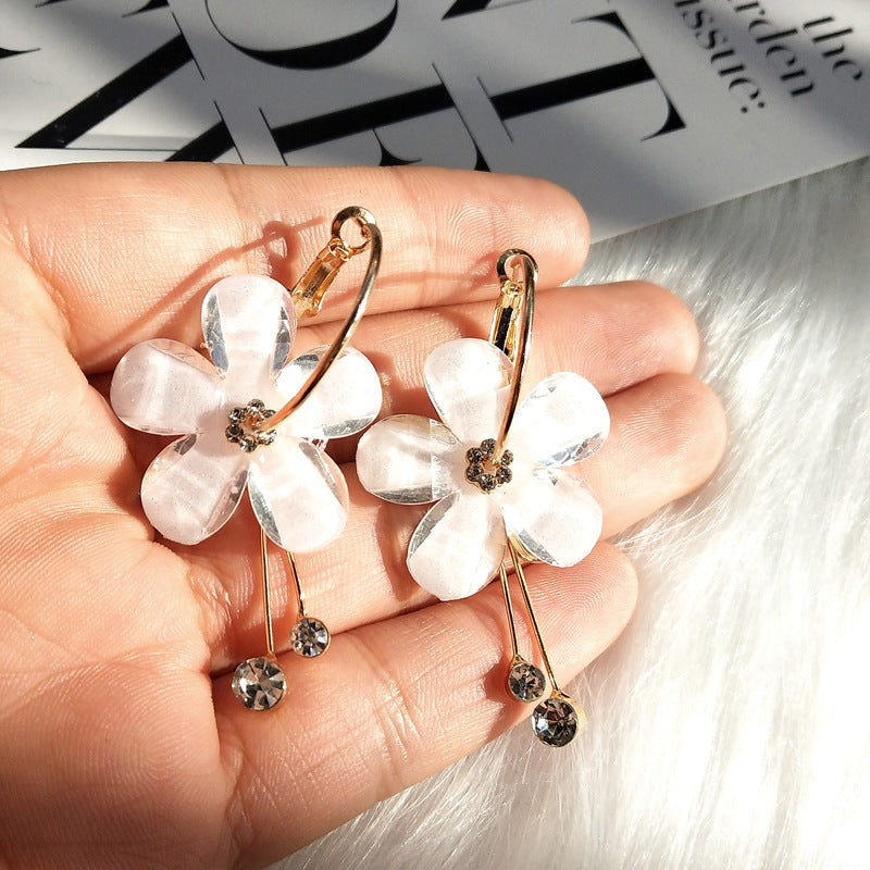 Crystal Flower Drop Earrings-Accessoryssimo