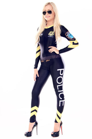 Grid Girl Catsuit - 1/4 Zip - Black Police Girl