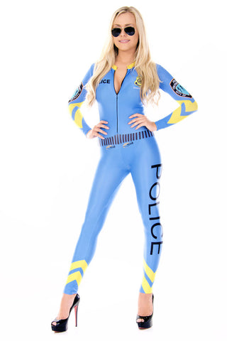 Grid Girl Catsuit - 1/4 Zip - Blue Police