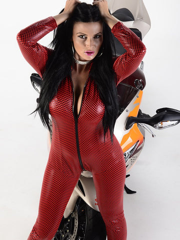 Catsuit - Red with black check