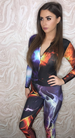 Coming Soon - Grid Girl Catsuit - 1/4 Zip - Fire and Ice