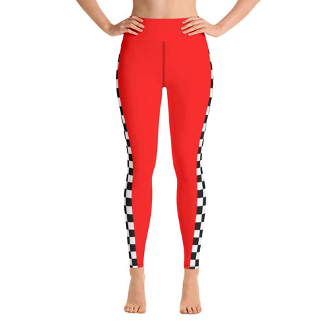 Grid Girls UK - Plain Red Checkered Yoga Leggings