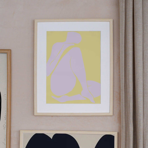 Tiny Stories Lilac Intimacy the poster club art print female figure lilac and yellow