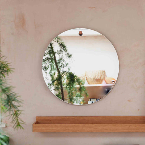 Hubsch Mon Pote Sustainability Eco Friendly Mirror Wall Hook Oak Picture Ledge