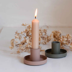 Ib Larsen metal pink and green candle holders
