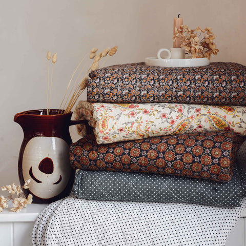Ib Laursen vintage stack of paisley and ditsy printed quilts